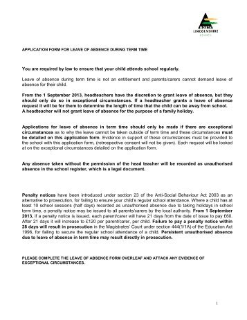 Application for a leave of absence application form for leave of absence south axholme altavistaventures Images