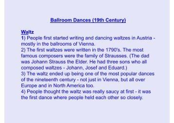 Ballroom Dances (19th Century) Waltz 1) People ... - South Axholme