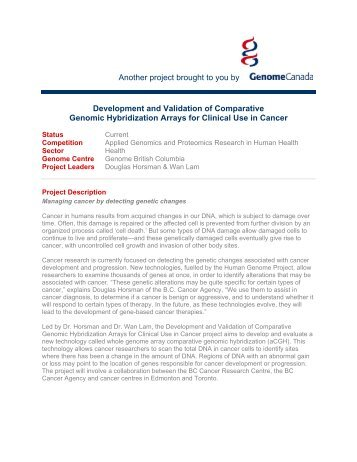 Development and Validation of Comparative ... - Genome Canada