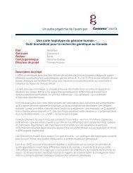 outil biomédical pour la recherche génétique au ... - Genome Canada