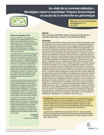 Mémoire sur les orientations stratégiques - Genome Canada