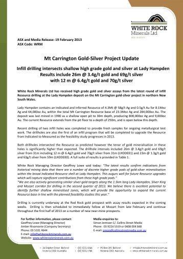 20130219 Lady Hampden Drilling Update - White Rock Minerals