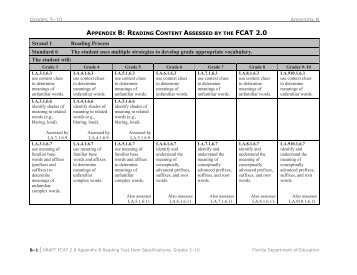 FCAT 2.0 Appendix B - Division of Language Arts/Reading
