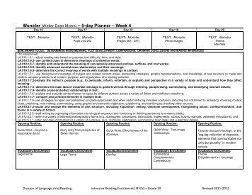 Week 4 - Division of Language Arts/Reading