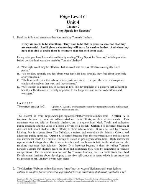 Edge Level C Unit 4 Division Of Language Arts Reading