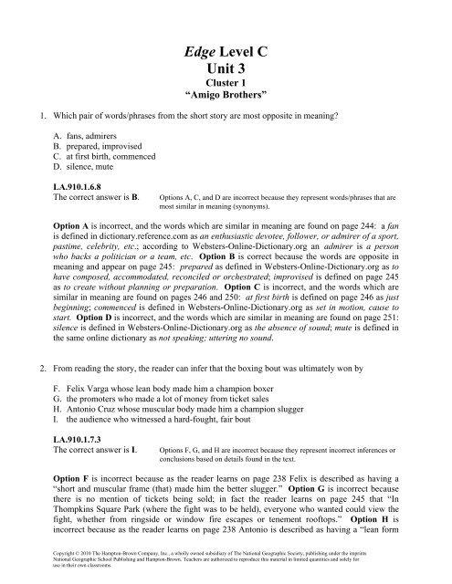 Edge Level C Unit 3 Division Of Language Arts Reading