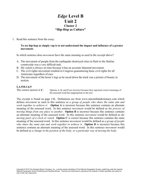 Edge Level B Unit 2 Division Of Language Arts Reading
