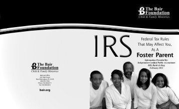 Foster parent tax booklet 2012.indd - The Bair Foundation