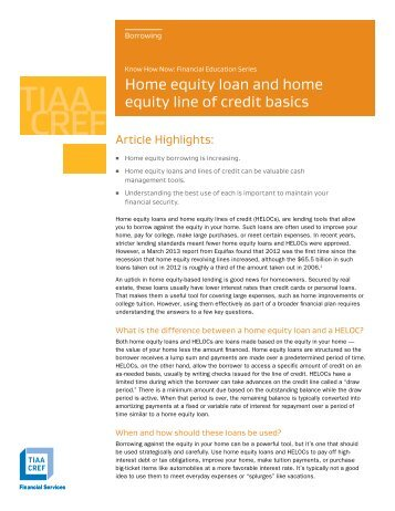 Home equity loan and home equity line of credit basics - TIAA-CREF