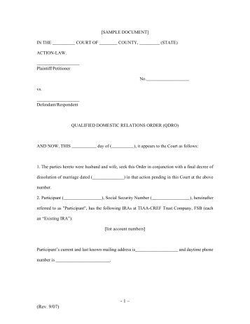 tiaa cref qdro Sample IRA QDRO (PDF) - TIAA-CREF