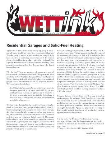 Residential Garages and Solid-Fuel Heating - Wood Energy ...