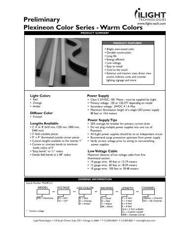 Preliminary Plexineon Color Series - Warm Colors - iLight ...