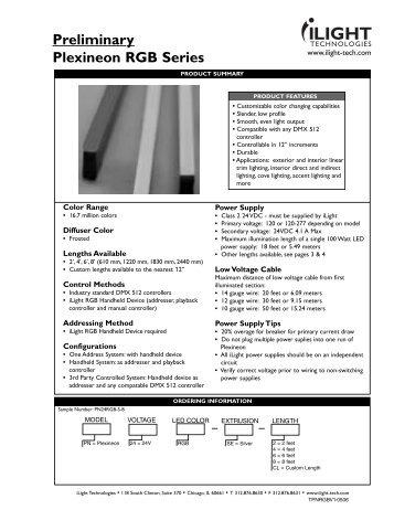 Preliminary Plexineon RGB Series - iLight Technologies