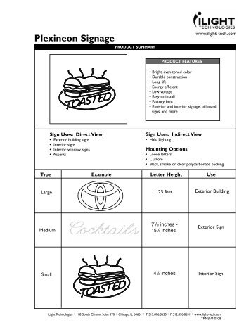 Plexineon Signage Series technical spec sheet - iLight Technologies