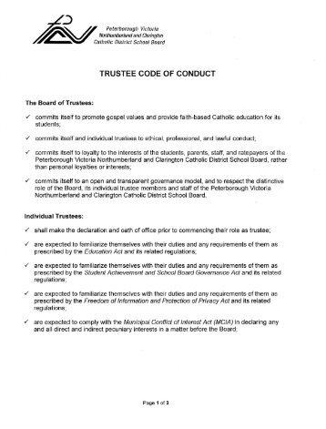 trustee code of conduct - PVNC Catholic District School Board