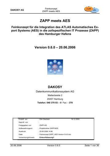 Feinkonzept ZAPP meets AES - DAKOSY ...