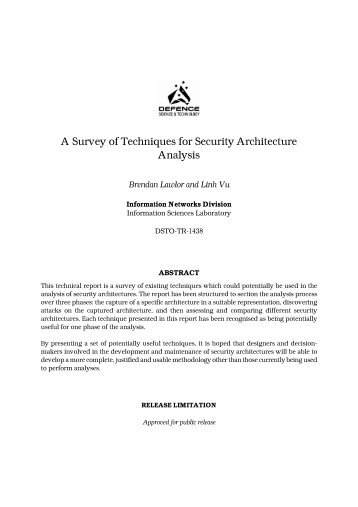 A Survey of Techniques for Security Architecture Analysis - Defence ...