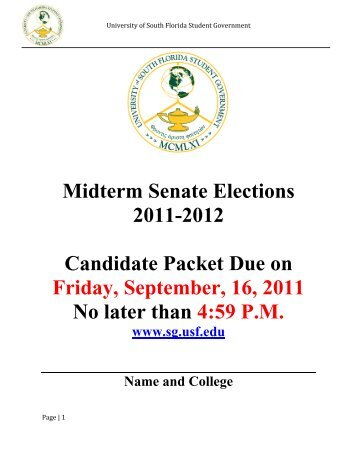 Midterm Senate Elections 2011-2012 Candidate Packet Due on ...