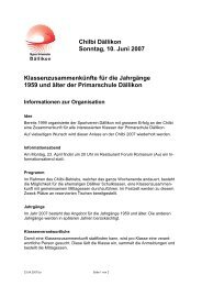 Chilbi Dällikon Sonntag, 10. Juni 2007 Klassenzusammenkünfte für ...