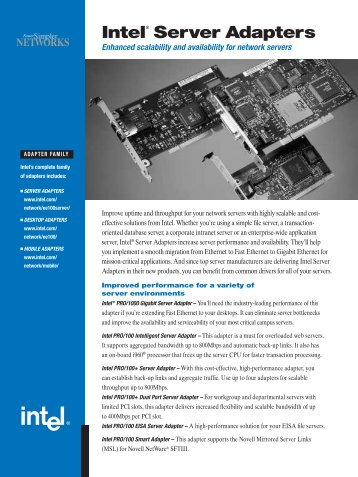Intel® Server Adapters - PARALLEL.RU
