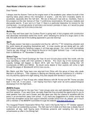 Head Master's Monthly Letter – October 2011 Dear Parents I always ...