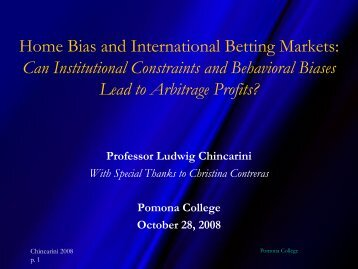 Home Bias and International Betting Markets - Ludwig B. Chincarini
