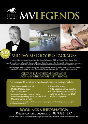 midday melody bus packages - Moonee Valley Racing Club