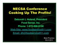 NECSA Conference Cooking Up The Profits!