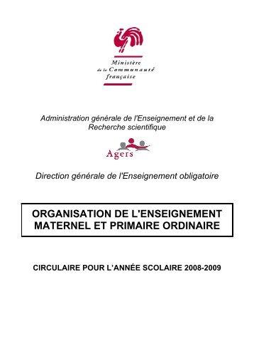 Organisation de l'enseignement maternel et primaire en 2005-2006