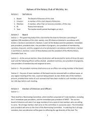 Bylaws of the Rotary Club of Wichita, Inc.