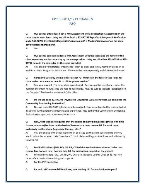CPT CODE 1 1 13 CHANGES FAQ