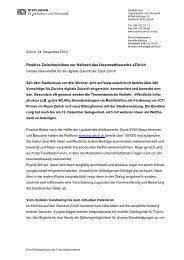 24.11.2010 Positive Zwischenbilanz zur Halbzeit des ... - eZürich