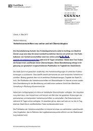 Medienmitteilung Verkehrsvorschriften online - eZürich