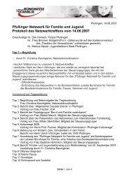 Pfullinger Netzwerk für Familie und Jugend Protokoll des ...
