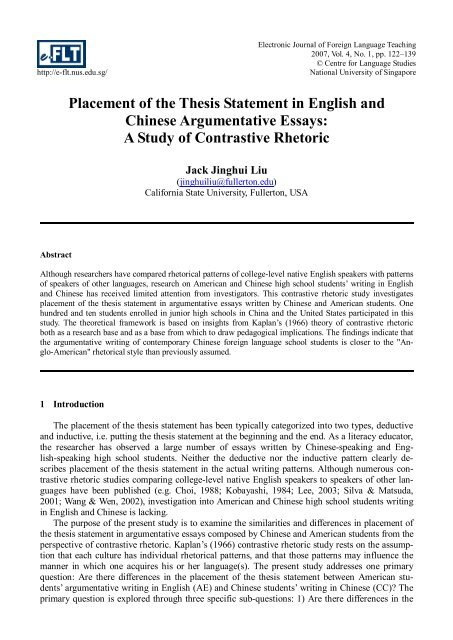 Placement Of The Thesis Statement In English And Chinese ...