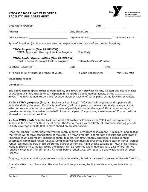 Facility Rental Agreement Ymca Of Northwest Florida