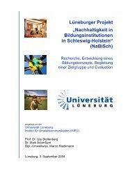 """Lüneburger Projekt """"Nachhaltigkeit in Bildungsinstitutionen in ..."""