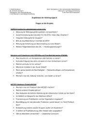 Fragen an die vorgestellten Projekte AG 6 - NUN
