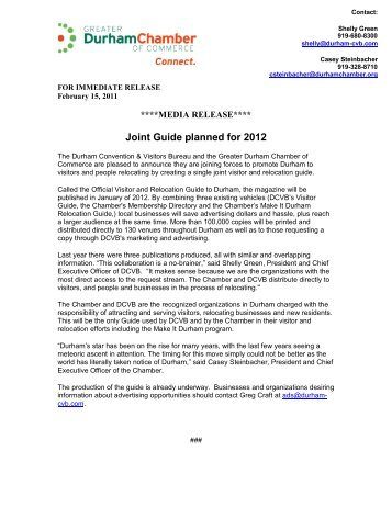Joint visitor and relocation guide planned for 2012 - February 15, 2011