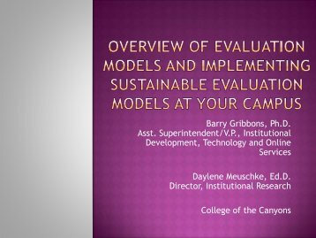 Implementing Program Evaluation Models ... - The RP Group