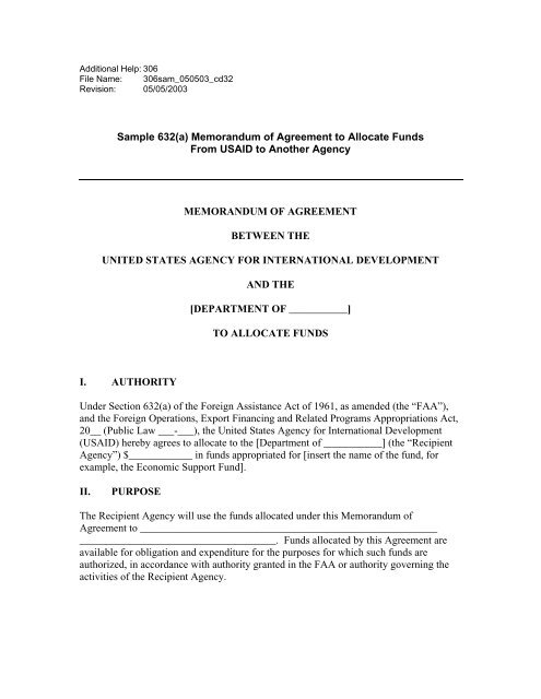 Sample 632 A Memorandum Of Agreement To Allocate Funds Usaid