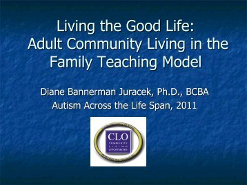 Adult Community Living in the Family Teaching Model - The Kansas ...
