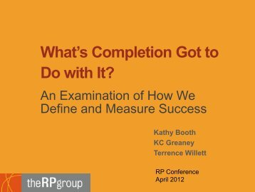 What's Completion Got to Do with It? - The RP Group