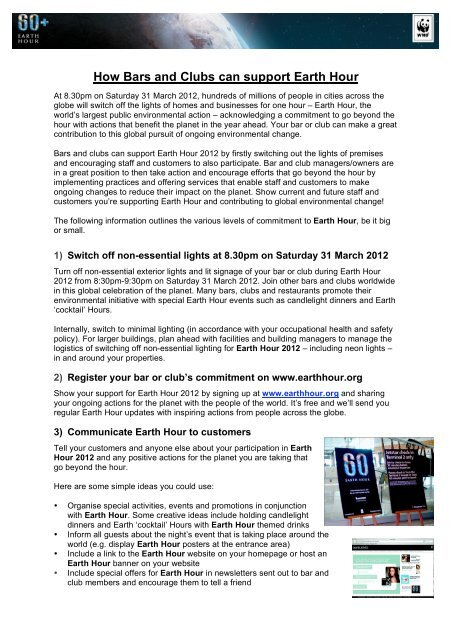 How Bars and Clubs can support Earth Hour