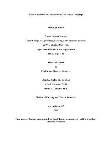 Habitat Selection and Predation Risk in Larval Lampreys