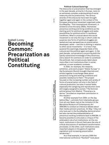 Precarization as Political Constituting - e-flux Layout Generator