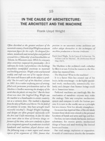 FL Wright – The Art and Craft of the Machine - CCA Furniture Design