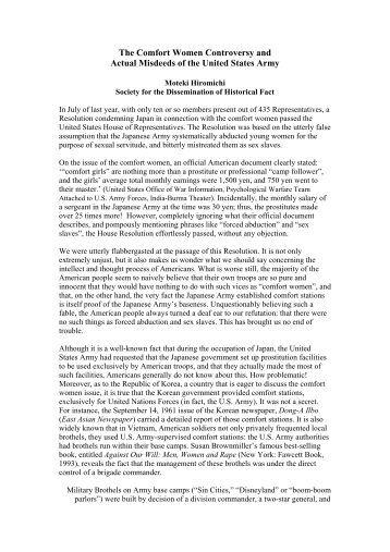 Comfort women & misdeeds us arm - Society the Dissemination of ...