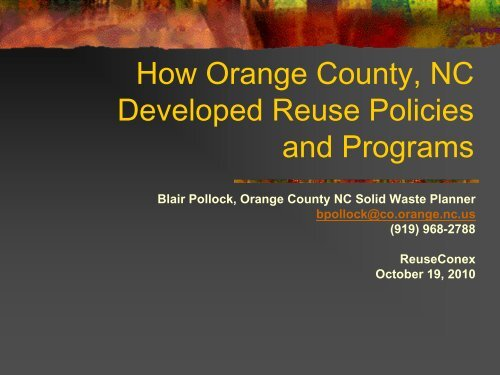 How Orange County Nc Developed Reuse Reuse Alliance