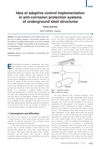 Idea of adaptive control implementation in anti-corrosion ... - PAR